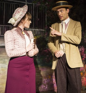"""Harold Hill, right, played by Paul Hanes, sings to Marian Paroo, played by understudy Bethany Hanes, during rehearsal for the Regional Theatre of the Palouse production of Meredith Wilson's """"The Music Man"""" on Friday, Aug. 8, 2014, in Pullman."""