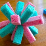 A splash ball is made from cut up sponges tied together. Then soak in water and throw.