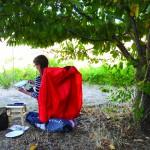 Jilll Hosmer found an open but shady spot the Wasem Vineyard with a view up the Snake River.