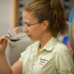 Coco Umiker samples some of her wine.