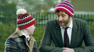 Imaginary friend Sean Murphy (right, played by Chris O'Dowd), gives Martin Moone (played by David Rawle) advice.