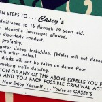 Rules for the teenage dance hall Casey's were printed on a business card to hand out.