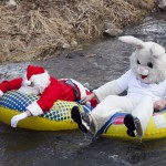Santa and the Easter Bunny enjoy a cool ride in the Lava Hot Springs Polar Float Parade.