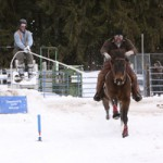 A horse and rider tow skiers in Sandpoint's Ski Joring event, now in its fifth year.