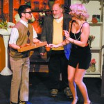 Higginson (L), Mushnik played by Randy Emerson (middle) and Audrey played by Olivia M. Calza (R) .