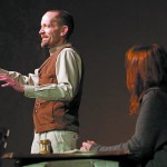 """Dave Harlan, as Bernard Shaw, and Chris Stordahl, as Mrs. Patrick Campbell, rehearse a scene from """"Dear Liar"""" at the Kenworthy Performing Arts Centre in Moscow. The play opens March 12."""