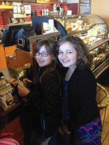 Jasmine (left) and her friend Rachel Sheppard, daughter of Mark and Melanie Sheppard, enjoy a treat at Starbucks because that's what grown-ups do.