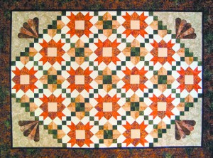 "This quilt, designed by Sandy Berg, is titled ""Tuscan Sunset"" and is the raffle prize at this weekend's Palouse Patchers Quilt Show."