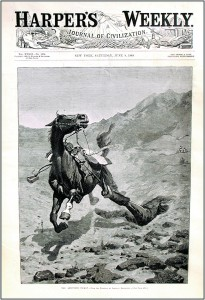 Print of early work by Fredric Remington who became renowned for his ability to render a horse in motion.