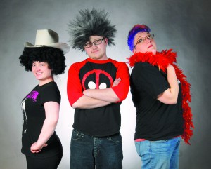 """Cast members, Amber Heasley, Christian Syerson and Aubree Flaners will be in Abuzz Theatre's production """"Completley Hollywood (abridged)."""""""