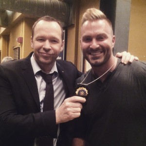 "Donnie Wahlberg poses with Billy Jeffrey on the set of TV's ""Blue Bloods."""