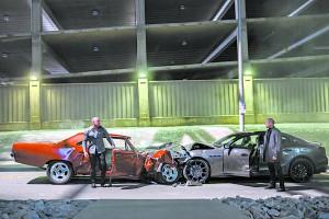 """Dom (Vin Diesel) confronts Decker Shaw (JAson Statham) in """"Furious 7."""""""