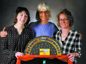 Palouse residents, from left, Inga Kingsley, Amy Browse and Diane Worthey -- who make up the Harmonia String Trio -- designed and built a Peeps symphony, which won this year's inland360.com Peeps diorama competition.