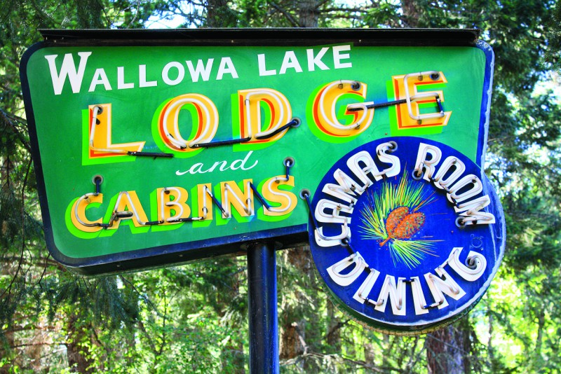 Since the 1920s, the Wallowa Lake Lodge has served as a forested getaway for visitors.