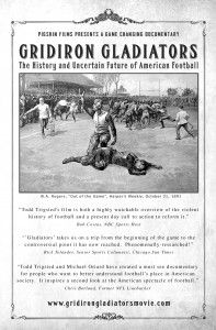"""The movie post for """"Gridiron Gladiators: The History and Uncertain Future of American Football."""""""