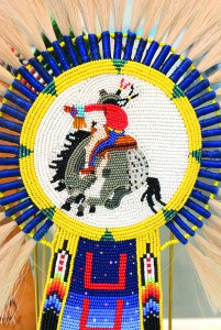 A beaded keyhole for a horse made by Gaslan Broncheau is on display at the Center.