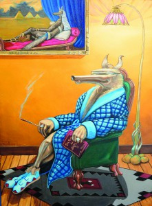 "Kevin Peters rendering of The ""Connoisseur Koyote,"" on display at the center."