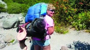 Barb marsh with her loaded pack on the PCT.