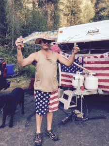 "Bill Alteneder stands at his Wilderness Gateway campsite where he was swarmed by dozens of hummingbirds Fourth of July weekend. The scene will land him on ""America's Funniest Home Videos"" this Sunday."
