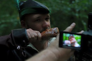 "Nickles plays a turkey leg eating henchman in the music video for ""Ramblin'.""."