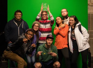 """The 8 Bit"" crew with their award from the College Broadcasters Incorporated."