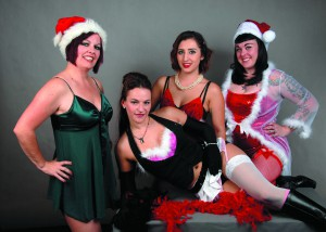 Naughty Burlesque performers alX, Ivy, Kurbii KahlevRa and Stiletto Rose from Abuzz Theatre.