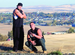"Indigenous hip-hop musician Shayne ""Diz"" Dean, left, is enjoying being back on the Palouse and performing with his son, Roman McFarlan."