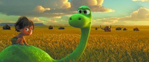 "This image released by Pixar-Disney shows Spot, voiced by Jack Bright, left, and Arlo, voiced by Raymond Ochoa, in a scene from ""The Good Dinosaur."" (Pixar-Disney via AP)"