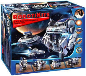Space vehicles and bots are the focus of the OWI 7-in-1 Space Fleet kit.
