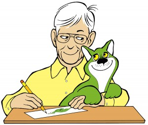 TheGreenCatRobertJacobson-and-green-catillustration