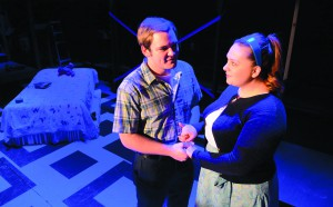 """Isaac Ryckeghem and Alaina Trickey as Eddie Bridlace and Rose in """"Dogfight,"""" at the Lewiston Civic Theater."""