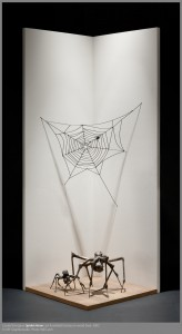 """Spider Home"" by Louise Bourgeois (born 1911, Paris; died 2010, New York City), 2001, cast bronze, wood, paint"