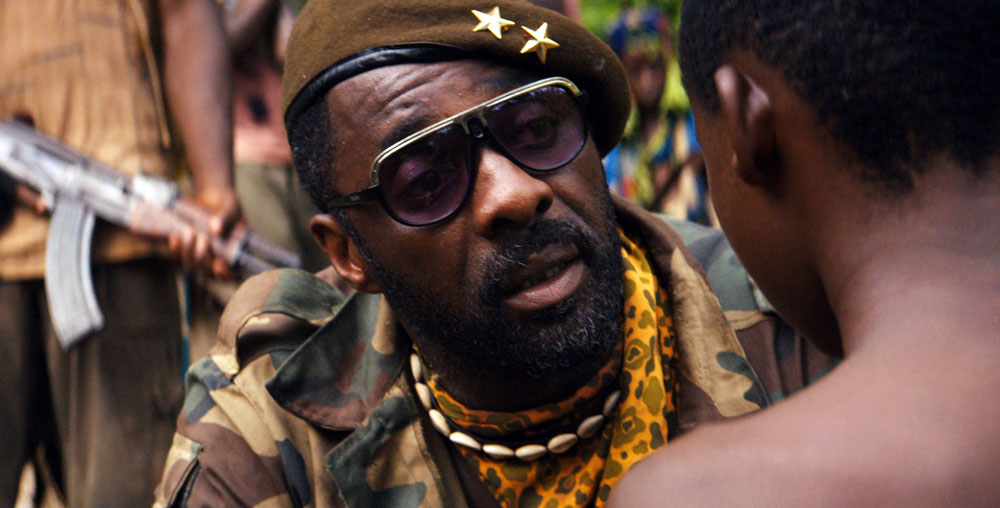 "This photo provided by Netflix shows, Idris Elba in the Netflix original film, ""Beasts of No Nation."" Proving perhaps that Hollywood can¿t refrain from making disappointing sequels, last year¿s Twitter hashtag #OscarsSoWhite was quickly revived on Thursday as the Academy unveiled a slate of nominees including no black actors or directors.  (Netflix via AP)"