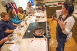 Keely Grrity (right), chef and owner of Ampersand, teaches a St.Patrick's Day cooking class at her store in Moscow, Tuesday, March 17, 2015.