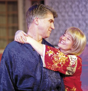 "Dennis McGreevy (Michael) and Tina McClure (Agnus) rehearse a scene from ""I Do I Do"" on Friday at the RTOP Theatre in Pullman."