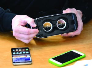 The new Samsung Gear VR goggles work with new generation Samsung smartphones.