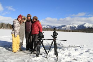 All-female, all-Idaho film crew at Priest Lake; Day pictured on far right. Photo by Matt Gershatter