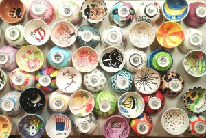 """The handpainted soup bowls to be given to ticketholders for the """"Soup-port Our Shelters"""" fundraiser lunch at the YWCA in Lewiston are ready to go. Volunteers painted more than 800 bowls for this year's event Friday."""