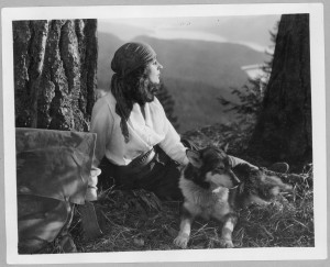 Nell Shipman at Priest Lake, 1921. Photo courtesy of BSU Albertson's Library Special Collections.