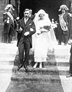 Cecily Lefort is seen at her wedding on June 17, 1924.