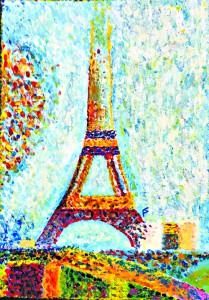 This acrylic Eiffel Tower is part of the student art show at Lewis-Clark State College Center for Arts & History.