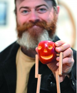 "Greg Hodap's ""limberjack"" creations are carved out of potatoes and apples and come to life with when they dance"