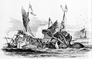 A kraken attacks at sea.