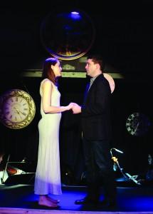 Kathy Hiatt (Kelli Barhan) and Jamie Wellerstein (Nate Barhan) practice a scene from The Last Five Years at the RTOP Theatre in Pullman.