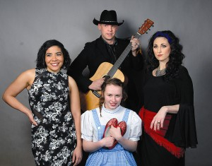 """""""Legends of Music"""" annual Fine Arts Ball fundraiser for the Lewiston Civic Theater singers include Nicole Schmidt, Grace Richardson, Chad Bramlet, and Connie Evans, playing Alicia Keys, Dorothy, Garth Brooks and Cher."""