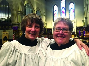 Seattle musicians Marilyn McAdoo (left) and Jo Baim (right) will perform April 17 at the Monastery of St. Gertrude in Cottonwood.