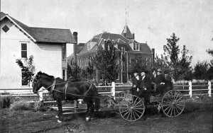 Nez Perce County Historical Society photo -- Lewiston State Normal School President George Black tours the campus in the fall of 1903. Today this is the corner of Sixth Street and Ninth Avenue.
