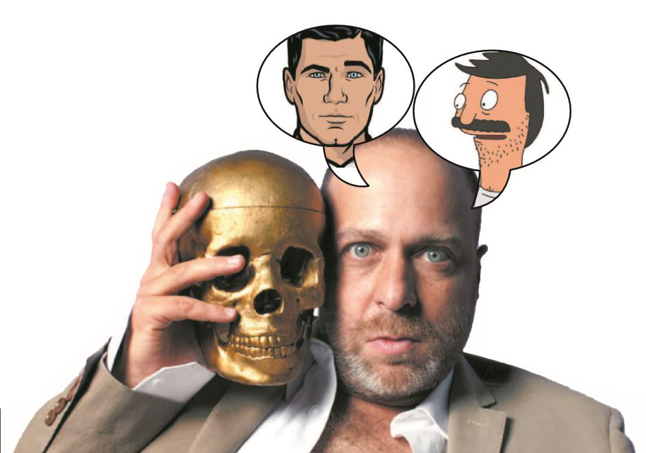 "H. Jon Benjamin is the voice actor behind the animated TV characters Sterling Archer of ""Archer."" (left balloon) and Beb Belcher of ""Bob's Burgers."""