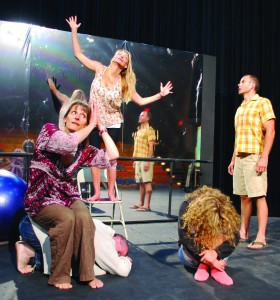 "Contributed photoCHANGLINGS — Idaho Repertory Theatre cast members rehearse a scene from ""Circle Mirror Transformation,"" from left: Nancy Lee-Painter (Marty), David Lee-Painter (James), Kelly Quinnett (Theresa), Kristin Glaeser (Lauren) and Rich Brown (Schultz)."