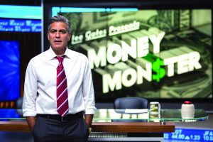 """In this image released by Sony Pictures, George Clooney appears in a scene from """"Money Monster."""" (Atsushi Nishijima/TriStar Pictures- Sony Pictures via AP)"""